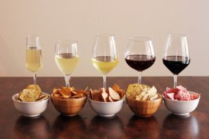 Decadent snacks with wine